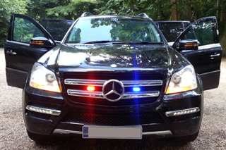 Armoured Mercedes-Benz GL with grille LED strobe lights